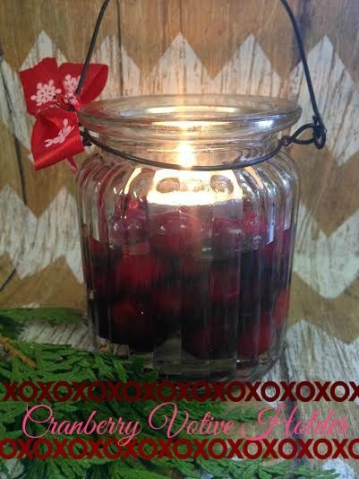 Cheap Holiday Decorating Ideas-Cranberry Votive Holder