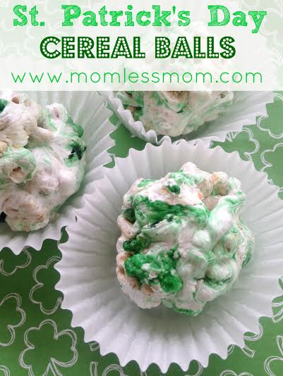 Green St.Patrick Day Desserts- Lucky Leprechaun Cereal Balls