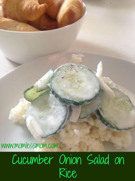 Cucumber Onion Salad on Rice
