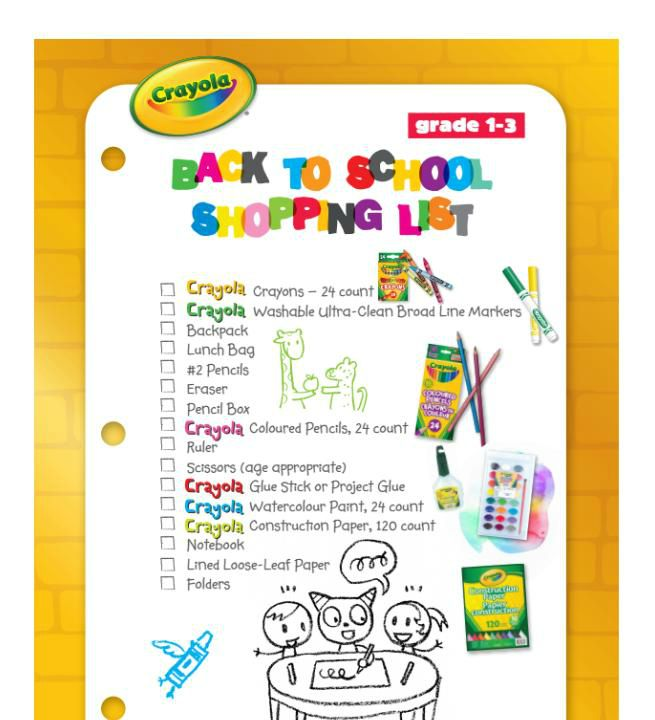 Crayola Back to School Shopping list