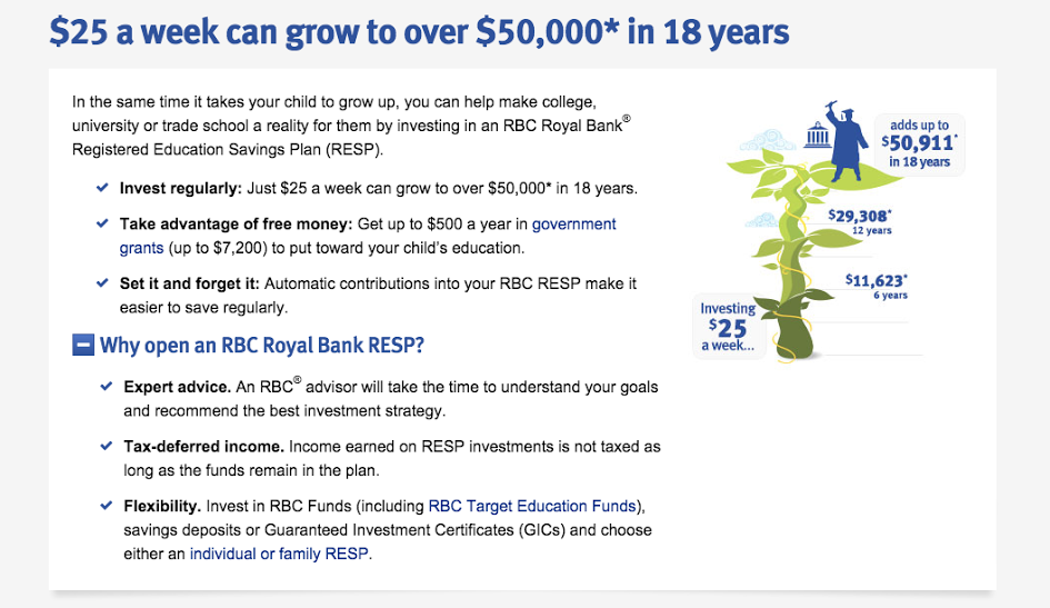 """To learn more visit: http://www.rbcroyalbank.com/save-regularly/resp.html """"."""