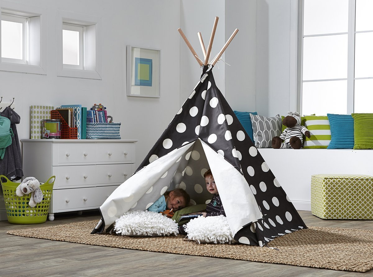 Children's Teepee Grey with White Polka Dots-EDITED FOR COPY RIGHT