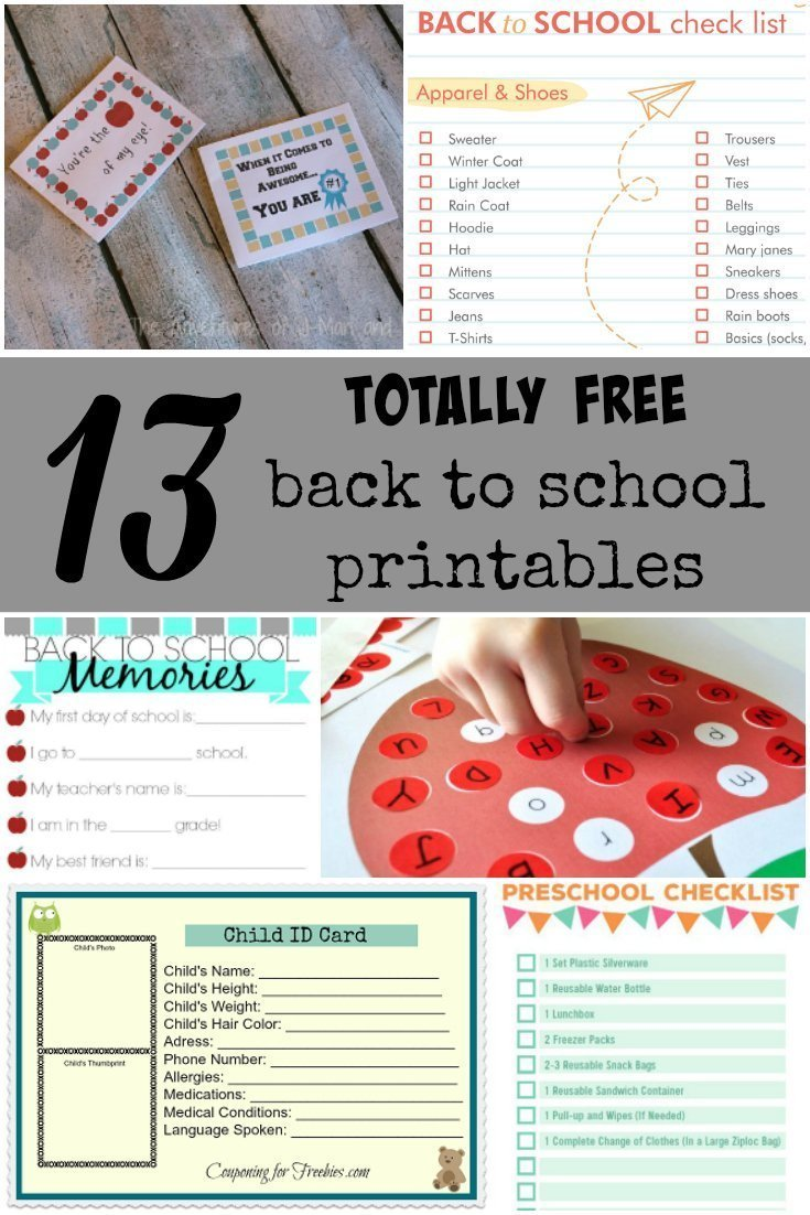 13 Totally Free Back to School Printables!
