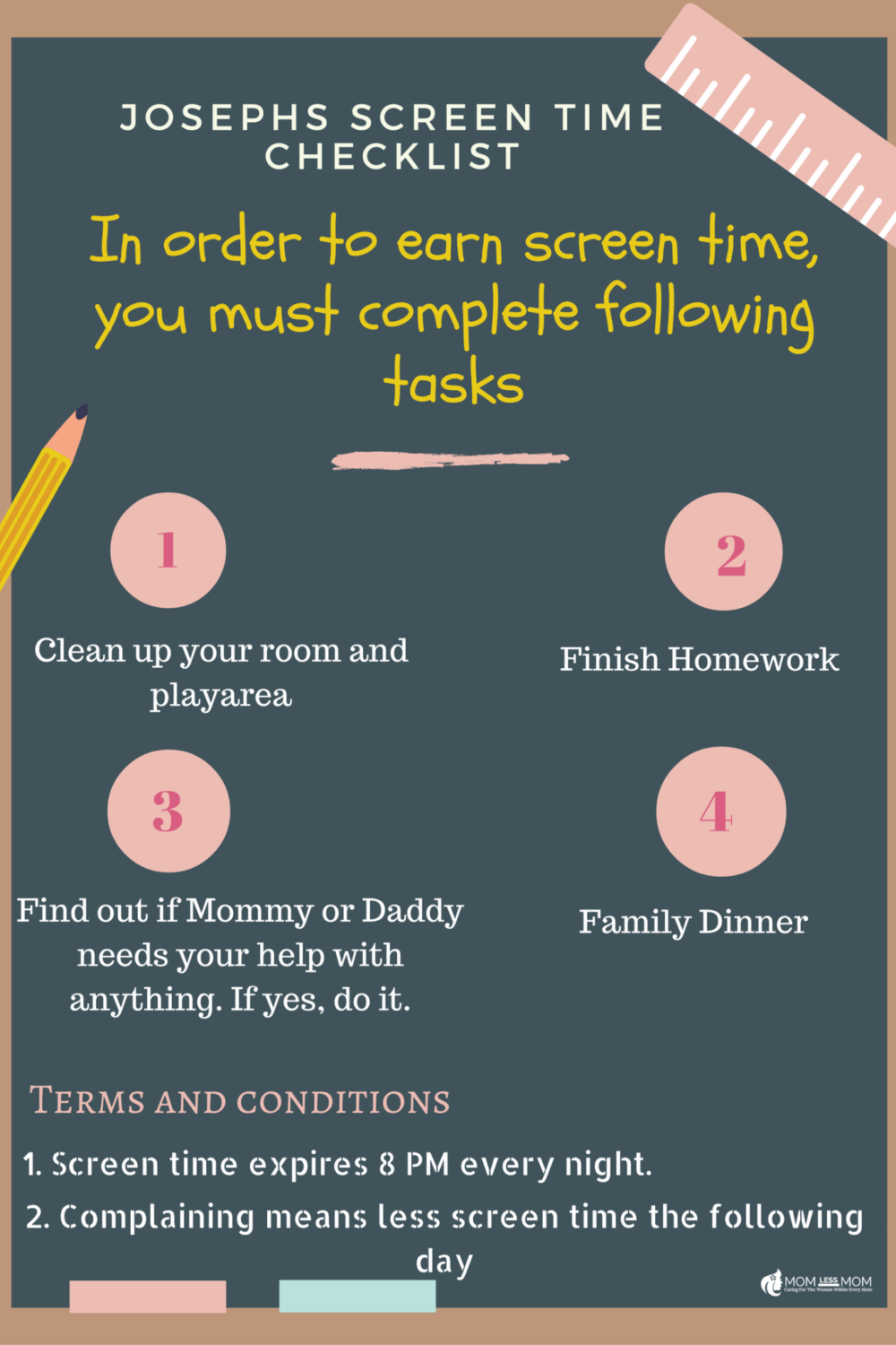 Online screen time policy for kids