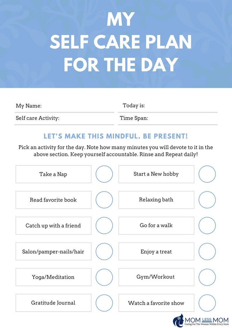 Create a self care routine with a self care planner template free for Self care plan template