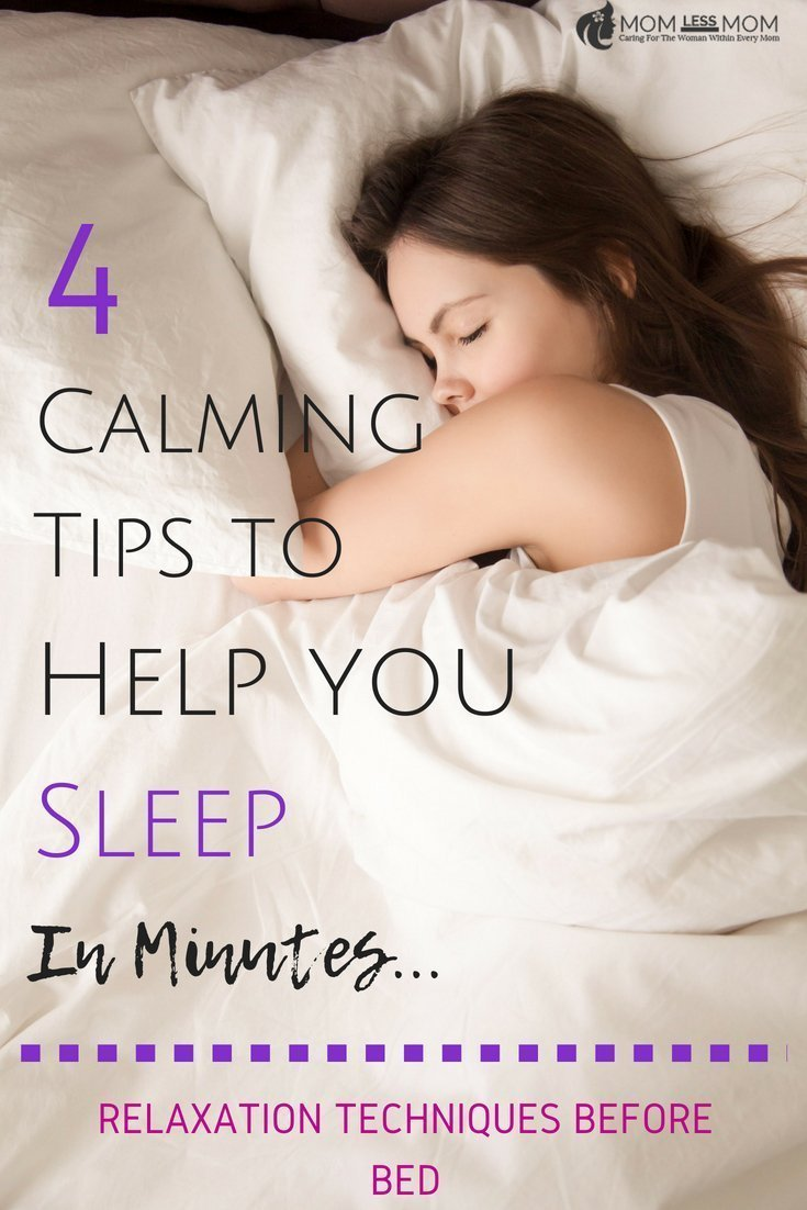 Getting a good night's sleep is a blessing. But sometimes, we have a hard time shutting down all that negative self-talk that shows up in your head exactly at bed time. In this post, I share 4 calming tips to help you sleep with great relaxation techniques before bed. #sleeproutine